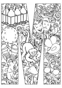 colroiage-adulte-singe-et-souris free to print