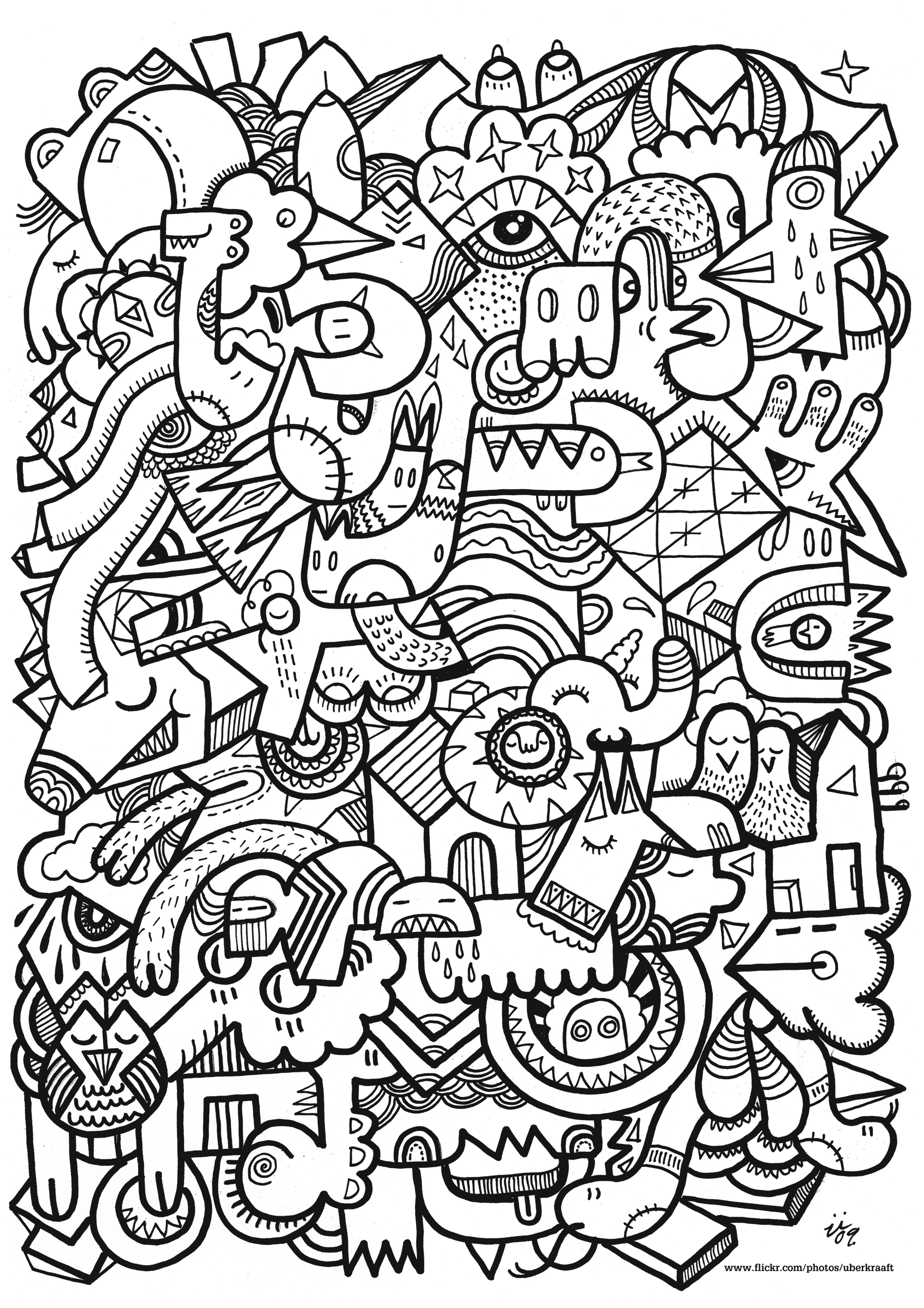 Anti stress art th rapie coloriages difficiles pour - Coloriage adulte difficile ...