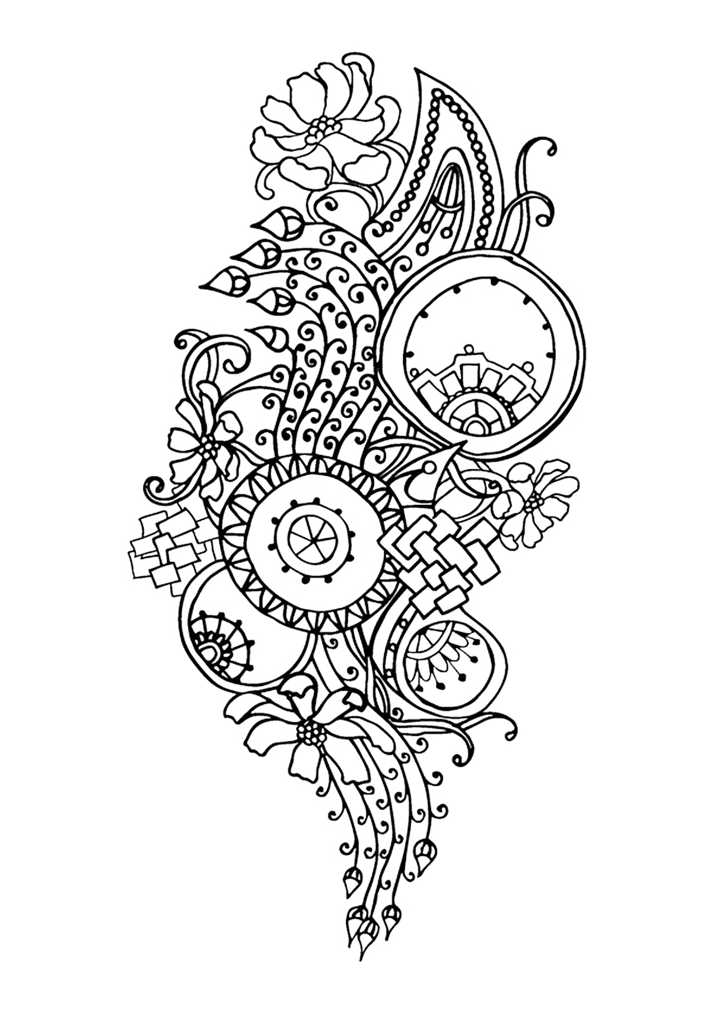 Anti stress art th rapie coloriages difficiles pour for Motif dessin