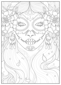 Coloriage-adulte-day-of-the-dead-par-Juline free to print