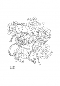 coloriage-adulte-annee-du-singe-1 free to print