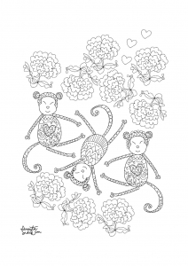 coloriage-adulte-annee-du-singe-2 free to print