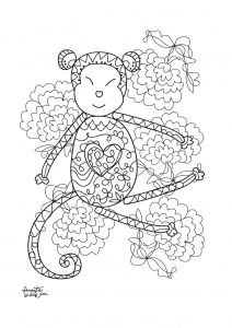 coloriage-adulte-annee-du-singe-3 free to print