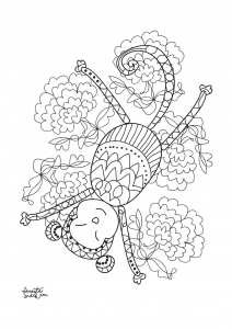 coloriage-adulte-annee-du-singe-4 free to print