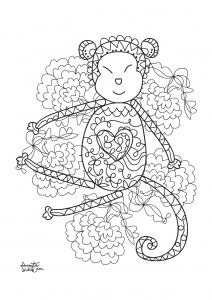 coloriage-adulte-annee-du-singe-5 free to print