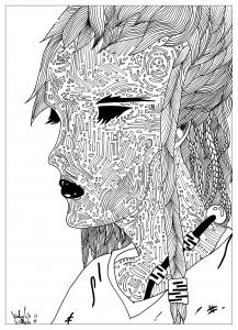 coloriage-adulte-dessin-La femme-mysterieuse-par-valentin free to print