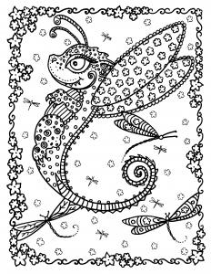 coloriage-adulte-dragon-papillon-par-deborah-muller free to print