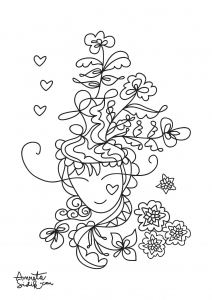 coloriage-adulte-fille-aux-fleurs-1 free to print