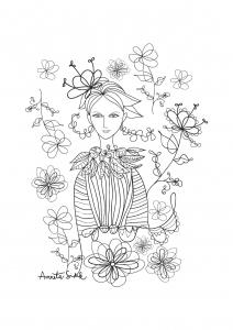 coloriage-adulte-fille-aux-fleurs-2 free to print