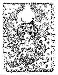 coloriage-adulte-fille-papillon-par-deborah-muller free to print