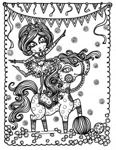 coloriage-adulte-jeune-acrobate-sur-un-cheval-par-deborah-muller free to print