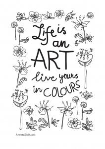 coloriage-adulte-la-vie-est-un-art free to print