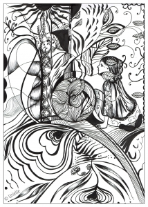 coloriage-adulte-reflet-d-amour-urielle free to print