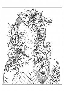 coloriage-adultes-femme-fleurs free to print
