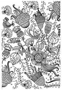 coloriage-antistress-oiseaux free to print