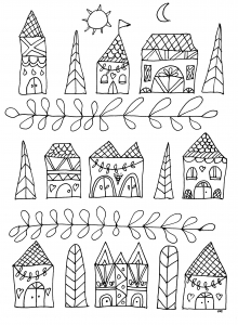 coloriage-dessin-naif-maisons-simples free to print