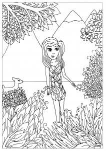 coloriage-femme-fleur-par-miwah free to print