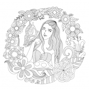 coloriage-la-fille-au-papillon-par-bimdeedee free to print