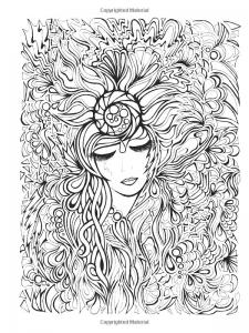 coloriage-visage-et-fleurs free to print