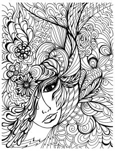 coloriage-visage-et-vegetations free to print