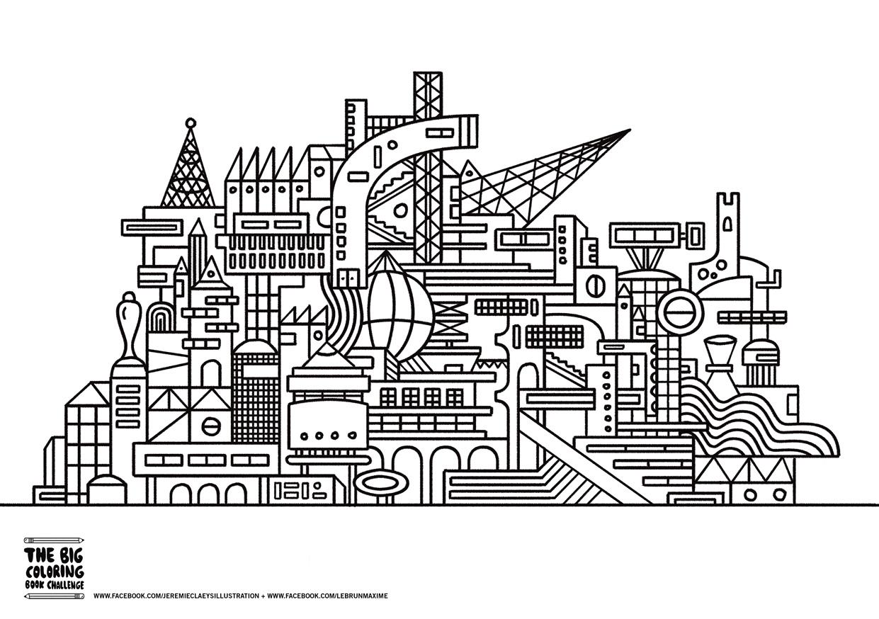 Architecture et habitation coloriages difficiles pour - Coloriage ville ...