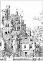 coloriage-adulte-chateau-dans-un-village free to print