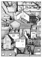 coloriage-adulte-toits-village free to print