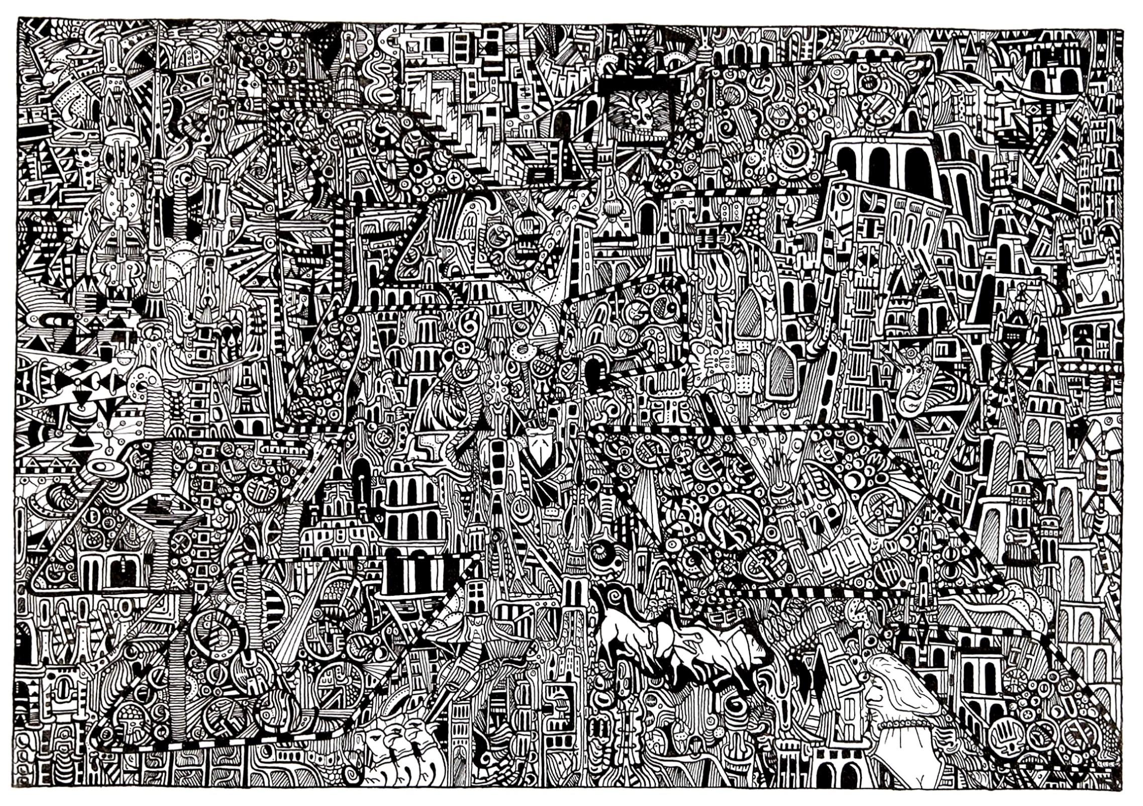 Un coloriage créé à partir d'un oeuvre typique de l'Art brutA partir de la galerie : Art Brut