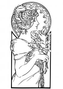 coloriage-adulte-femme-art-nouveau free to print