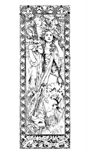 coloriage-adulte-maude-adams-jeanne-d-arc-alfons-mucha free to print