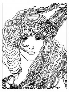 coloriage-art-nouveau-dapres-climax-de-aubrey-vincent-beardsley-1893 free to print