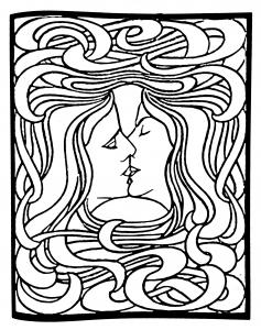 coloriage-art-nouveau-dapres-le-baiser-de-peter-behrens-1898 free to print