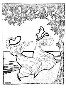 coloriage-art-nouveau-dapres-lithographie-de-ludwig-von-zumbush-1900 free to print