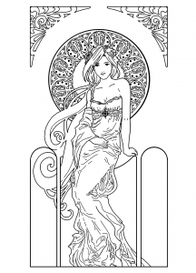 coloriage-dessin-femme-inspiration-art-nouveau free to print