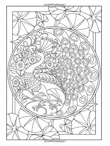 coloriage-style-art-nouveau-paon free to print