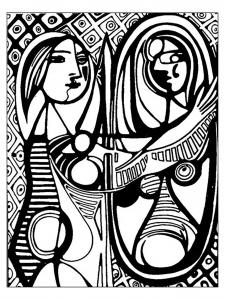 coloriage-adulte-d-apres-picasso-femme-au-miroir-picasso free to print