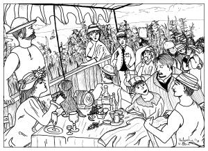 coloriage-adulte-dessin-coloriage-inspirée-du-tableau-des-canotiers-par-valentin free to print