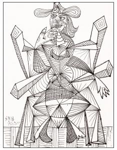 coloriage-adulte-dessin-noir-blanc-picasso-de-1938 free to print