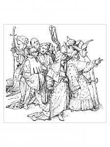 coloriage-adulte-jerome-bosch-groupe-de-dix-spectateurs-1516 free to print