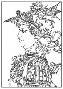 coloriage-adulte-leonard-de-vinci-Buste-d-un-guerrier-1477 free to print
