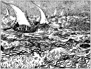 coloriage-adulte-van-gogh-marine-aux-saintes-marie-de-la-mer-1888 free to print