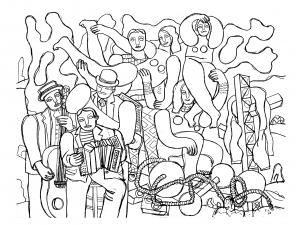coloriage-fernand-leger-acrobates-et-musiciens-1938 free to print