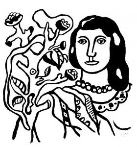 coloriage-fernand-leger-femme-fleurs free to print