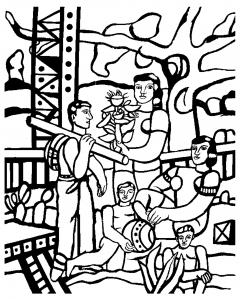 coloriage-fernand-leger-le-campeur free to print