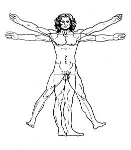 coloriage-leonard-de-vinci-l-homme-de-vitruve-1492 free to print
