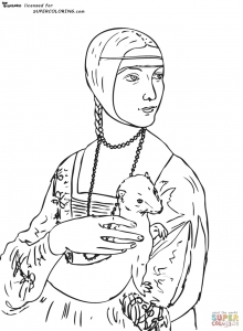 coloriage-leonard-de-vinci-la-dame-a-l-hermine free to print