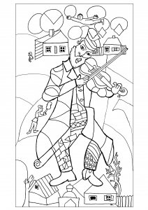 coloring-adult-chagall-the-green-violonist-1923-24-New-York-drawn-by-olivier free to print