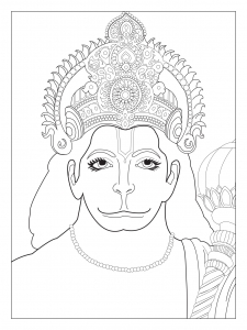 coloriage-adulte-buste-hanuman free to print