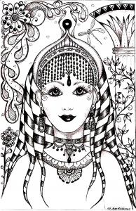 coloriage-visage-inspiration-inde free to print