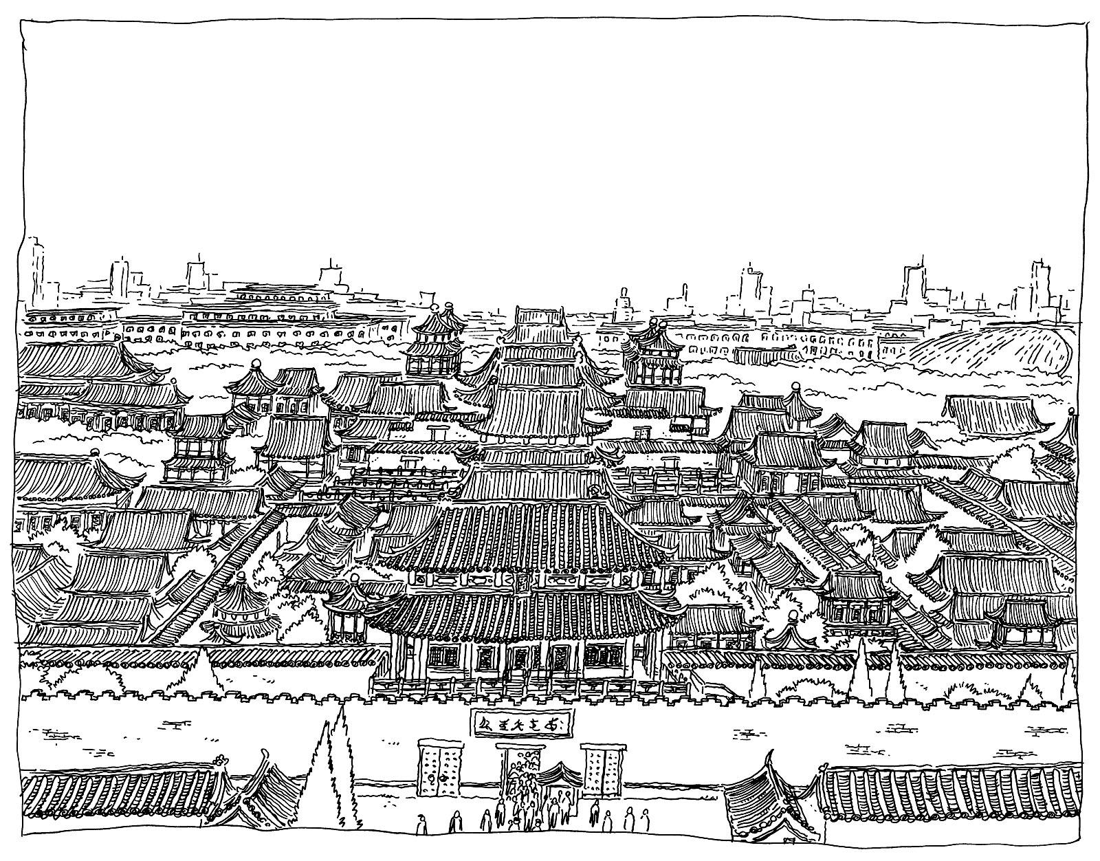 Dessin aux nombreux détails de la Cité interdite (par Pirlouit72)A partir de la galerie : Chine Asie